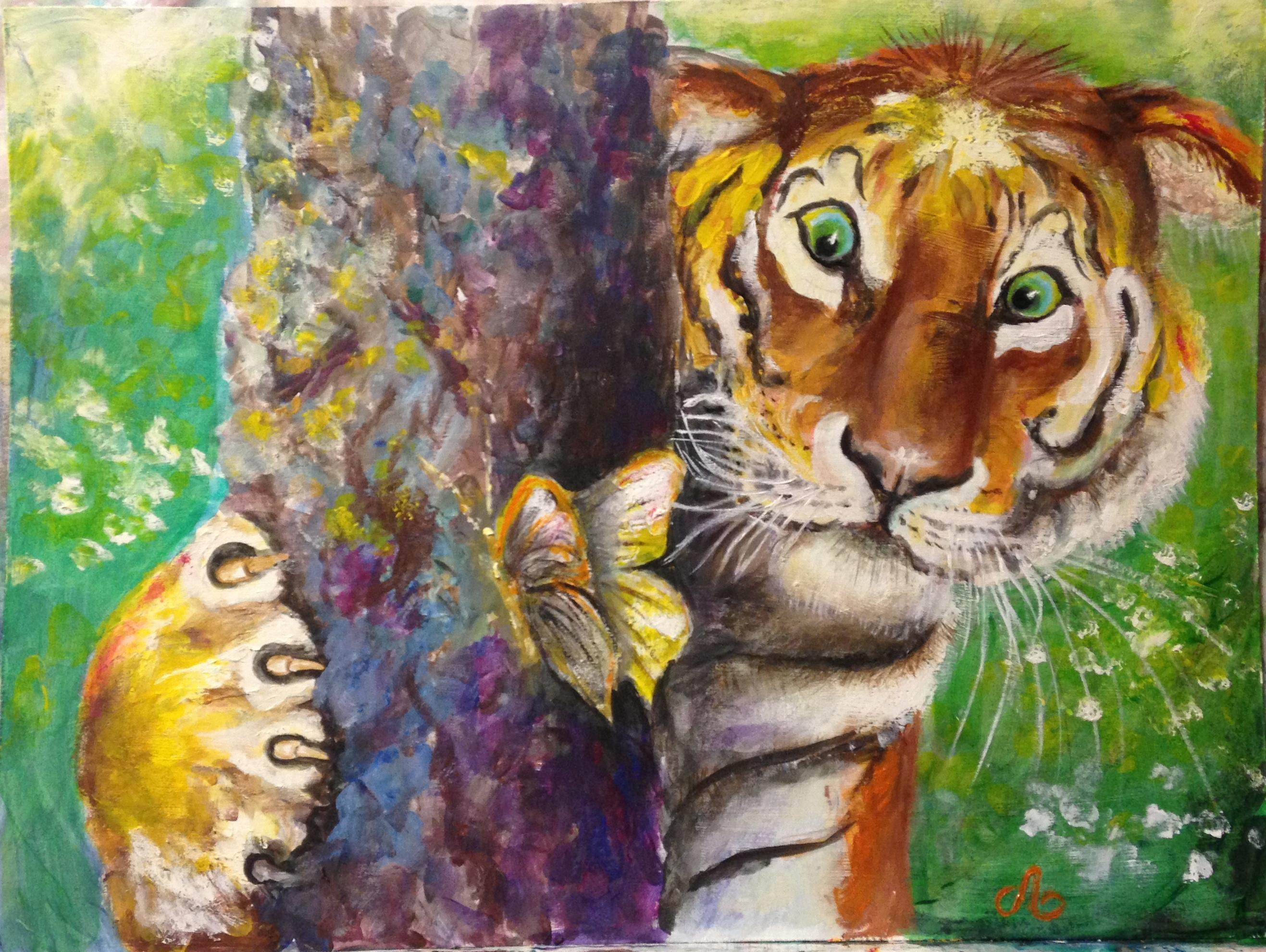 амурский тигр, акрил, 30х40
