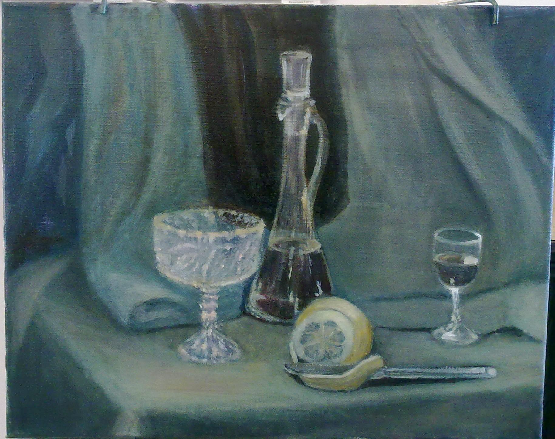 Натюрморт с лимоном, масло, 40х50