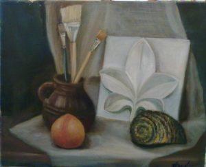 Натюрморт о художнике, масло, 40х50